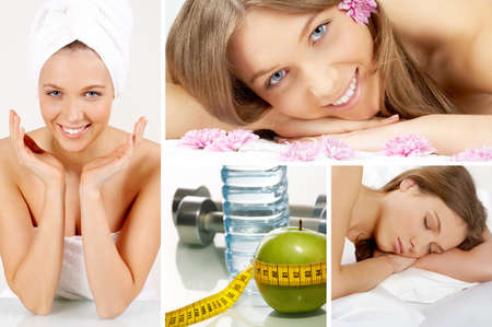 pureness: Collage of beautiful girl and objects for health and fitness Stock Photo