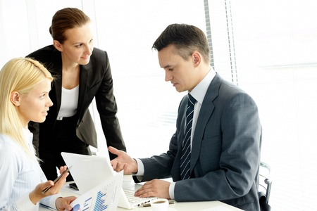 Group of business people working at meeting Stock Photo - 9819928