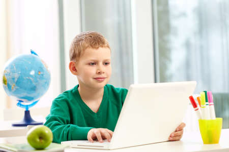 Portrait of smart schoolboy typing on laptop at lesson Stock Photo - 9820210