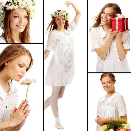 Collage of fresh female in summer clothes over white background photo