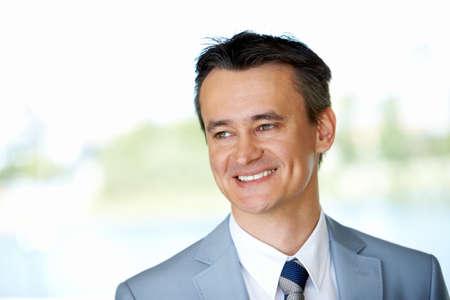 beiseite: Gesicht gl�cklich Businessman looking beiseite