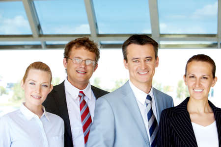 Group of confident business partners looking at camera outside Stock Photo - 9819374