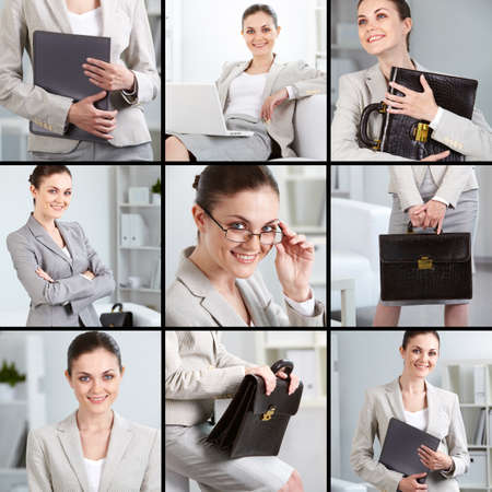 Collage of successful businesswoman in office photo