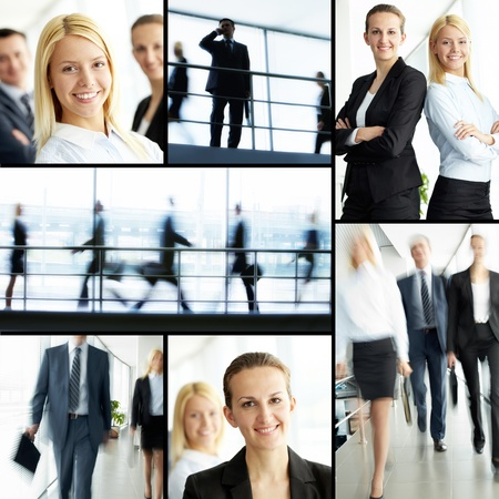 Collage of friendly business people looking at camera and walking photo