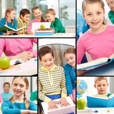 place to learn: Collage of smart schoolgirls and schoolboys studying Stock Photo