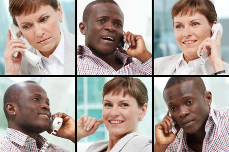 Photo of smart business people calling and smiling photo