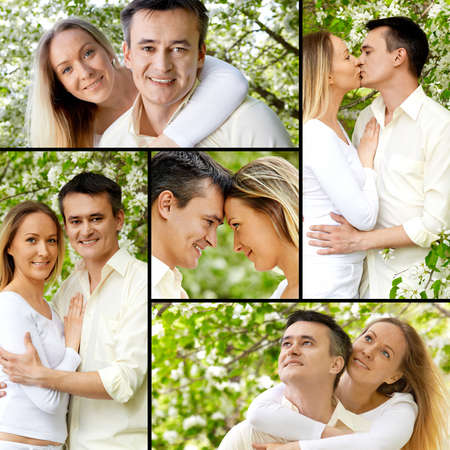 Collage of young couple enjoying themselves in park photo