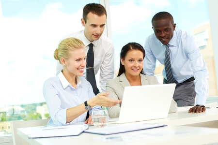 Group of business people planning work in office Stock Photo - 9818565