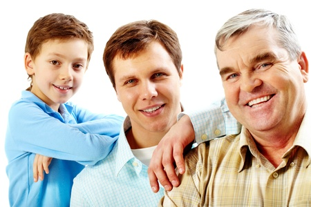 father and son: Portrait of a father, grandfather and son looking at camera