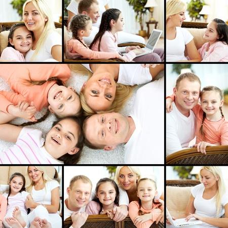 collage caras: Collage de descanso de la familia que tiene en su casa Foto de archivo