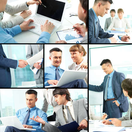 Collage of business team of three planning work in office photo
