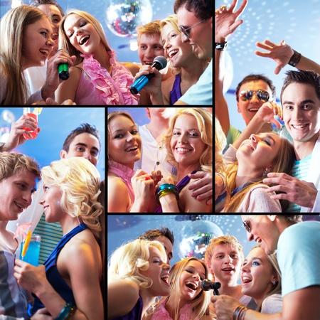 chicas divirtiendose: Collage de chicos alegres y ni�as se divierten en la fiesta