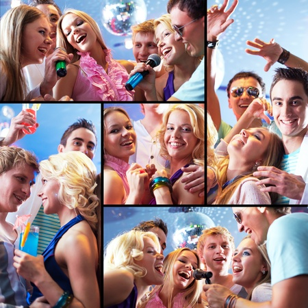 joyous: Collage of joyous guys and girls having fun at party Stock Photo