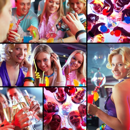 Collage of joyous guys and girls having a great party photo