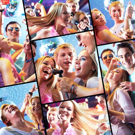 gente cantando: Collage de felices chicos y chicas tener parte en club nocturno Foto de archivo