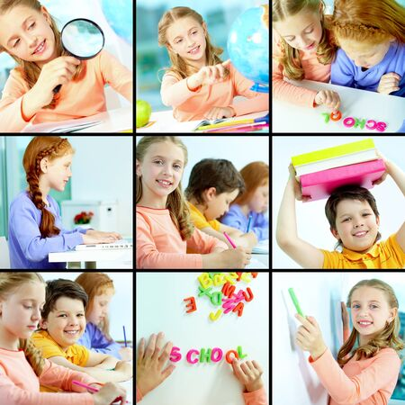 schoolchild: Collage of schoolchildren studying in class