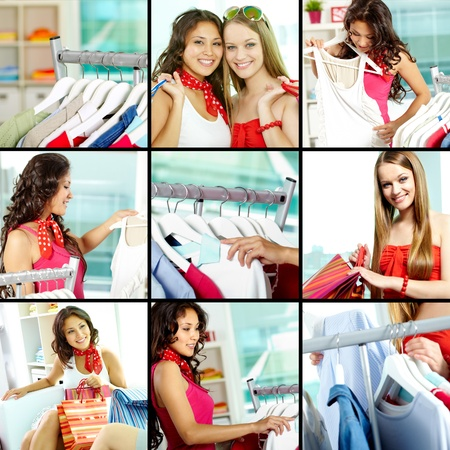 Collage of shoppers and clothes on hangers in clothing department photo