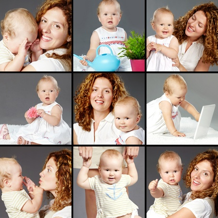 Collage of happy woman and her small daughter photo