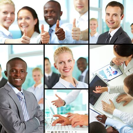 Collage of business people at work and leaders photo