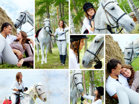 Collage of female jockey with horse and young couple resting photo