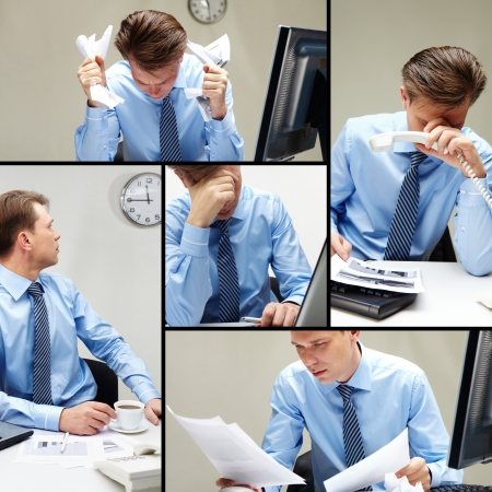 desesperado: Collage de empresario en lugar de trabajo en diferentes situaciones.