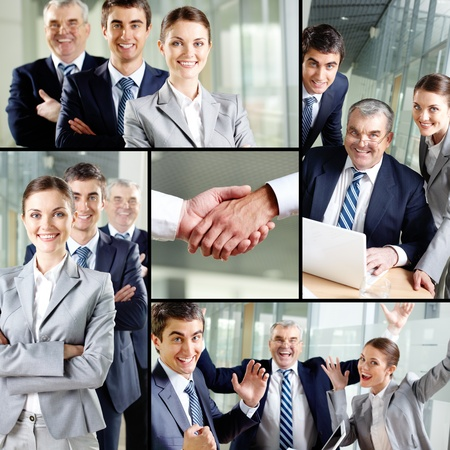 winning business woman: Collage of images with confident business team  Stock Photo