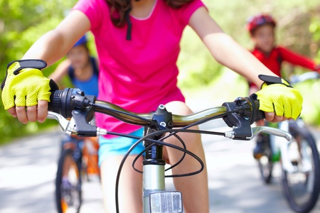 Close-up of handle bar of children�s bicycle  photo