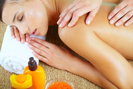 High angle view of a woman during massage at spa salon Stock Photo - 9963213