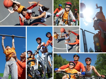 active family: Collage of happy family on bicycles and playing with ball outdoors