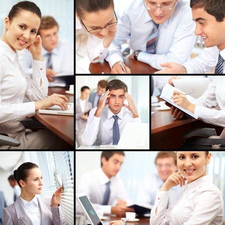 jornada de trabajo: Collage de hombres de negocios durante la jornada de trabajo  Foto de archivo