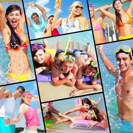Collection of pictures of happy friends on vacation Stock Photo - 10068016