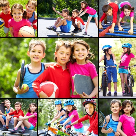 skateboarding: Collage of three happy children spending time outdoors  Stock Photo