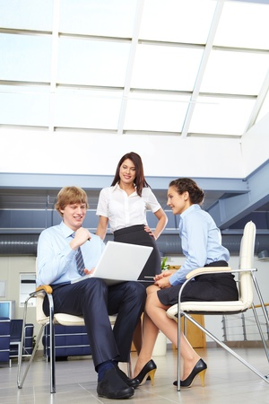 Photo of confident businesspeople discussing work at meeting Stock Photo - 10251493