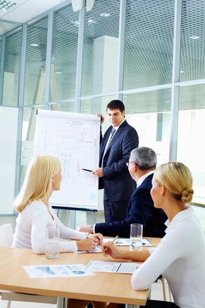 employee training: Businessman showing a plan to his colleagues