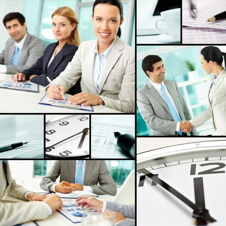 business partner: Collage of businesspeople at work and business objects