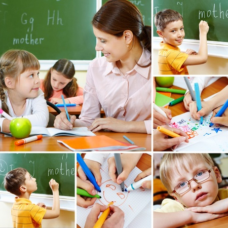 Collage of pupils and their teacher in classroom at lesson Stock Photo - 10289815