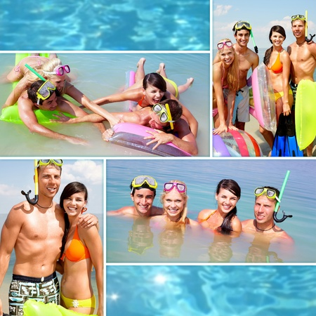 Collage of happy young adults scubadiving on vacation photo