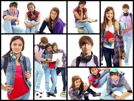 Collage of cute teens in studying process and at leisure photo