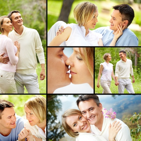 Collage of young happy couple enjoying spending time together on vacation photo