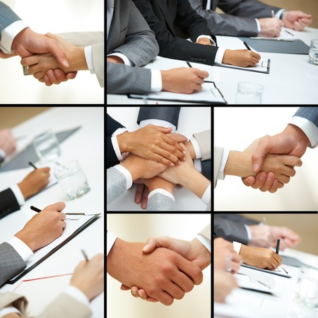Collage of business people hands in different situations photo