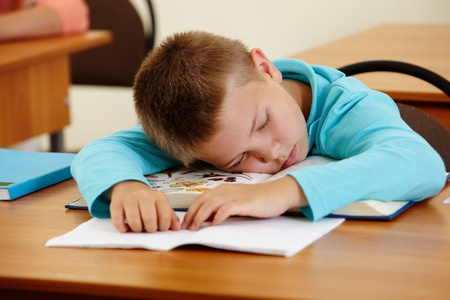 sleeping at desk: Cute schoolboy lying on book and sleeping in class during lesson Stock Photo