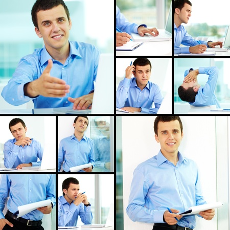 Collage of successful businessman working in office photo