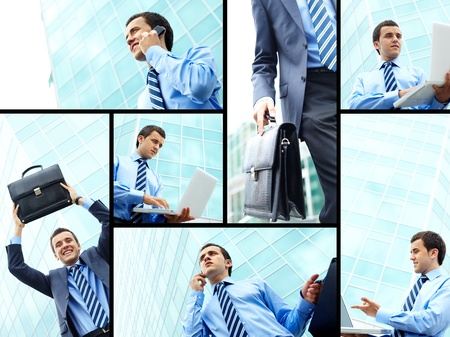 Collage of young businessman working outside photo