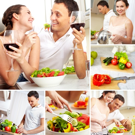 Collage of happy couple in the kitchen at home  photo