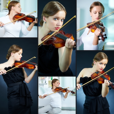 violas: Portrait of a young female playing the violin