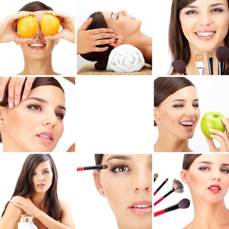 Collage of beautiful woman being taken care of in beauty salon