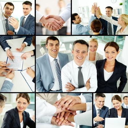 jornada de trabajo: Collage de grupo empresarial en el cargo durante la jornada de trabajo Foto de archivo