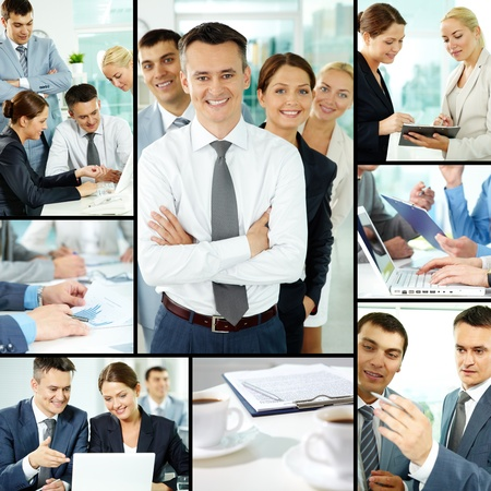 collage people: Collage of business group in office during working day