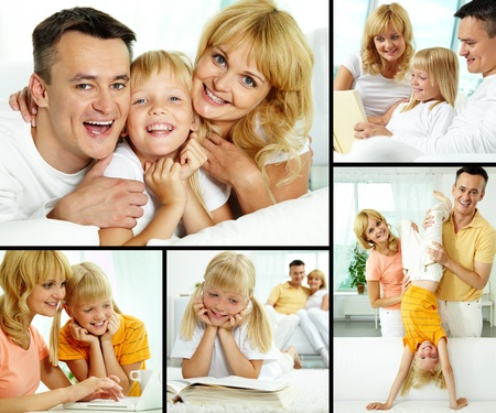 Collage of happy parents with their daughter spending time at home  photo