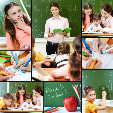 Collage of pupils and their teacher in classroom at lesson photo
